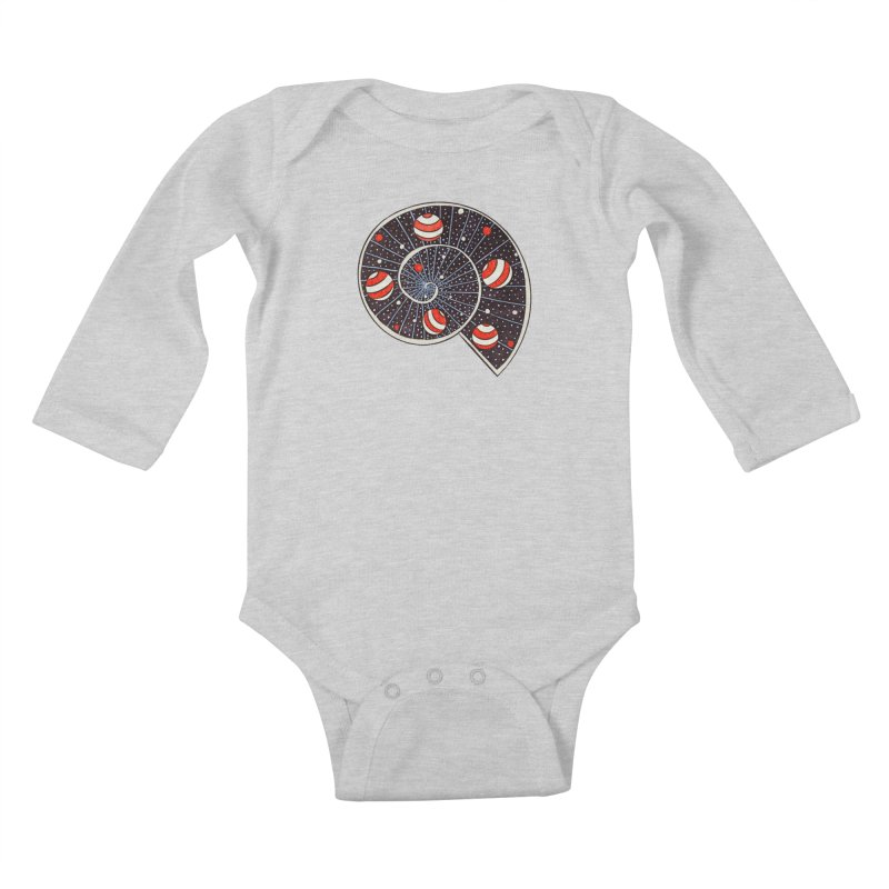 Spiral Galaxy Snail With Beach Ball Planets Kids Baby Longsleeve Bodysuit by Boriana's Artist Shop