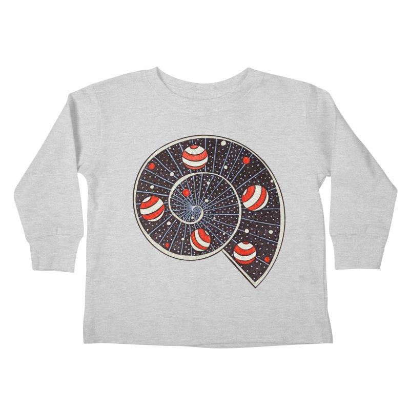 Spiral Galaxy Snail With Beach Ball Planets Kids Toddler Longsleeve T-Shirt by Boriana's Artist Shop