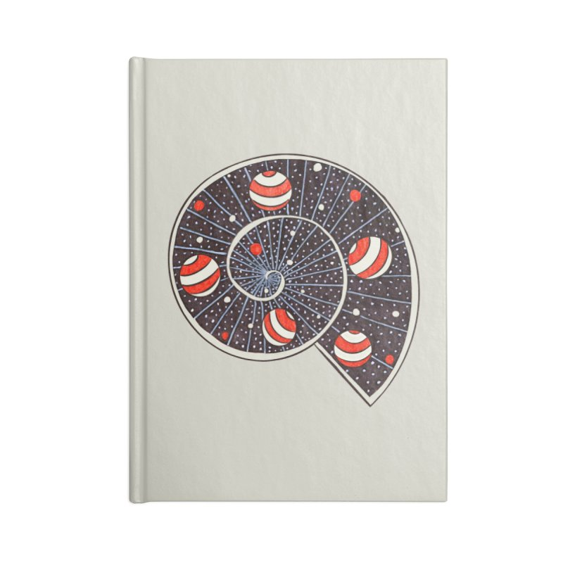 Spiral Galaxy Snail With Beach Ball Planets Accessories Lined Journal Notebook by Boriana's Artist Shop