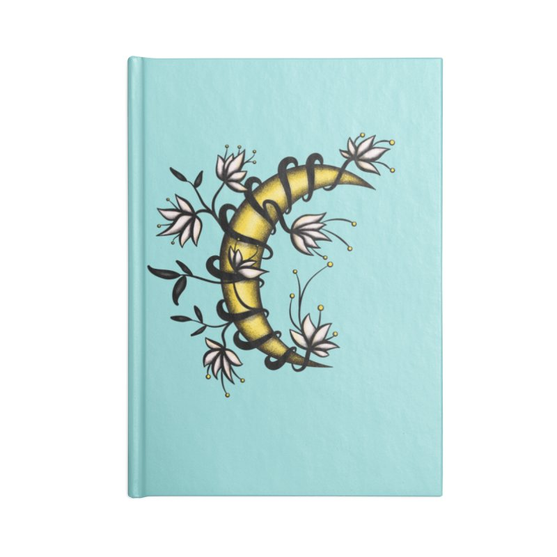 Crescent Moon Wrapped In Flowers Tattoo Style Accessories Lined Journal Notebook by Boriana's Artist Shop