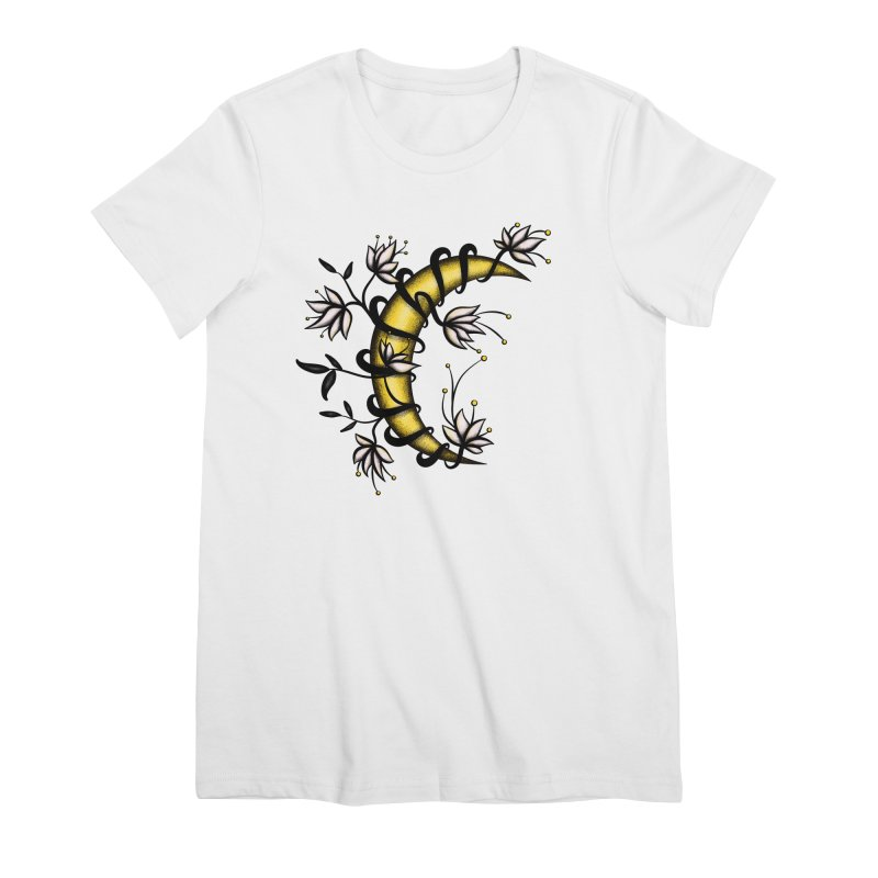 Crescent Moon Wrapped In Flowers Tattoo Style Women's T-Shirt by Boriana's Artist Shop