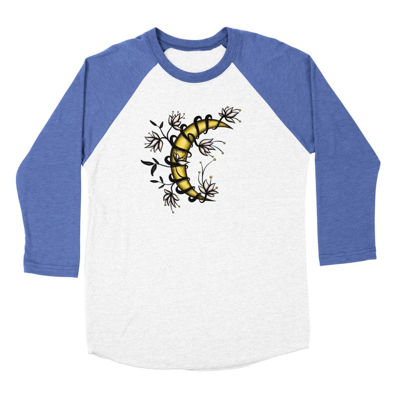 Crescent Moon Wrapped In Flowers Tattoo Style Men's Baseball Triblend Longsleeve T-Shirt by Boriana's Artist Shop