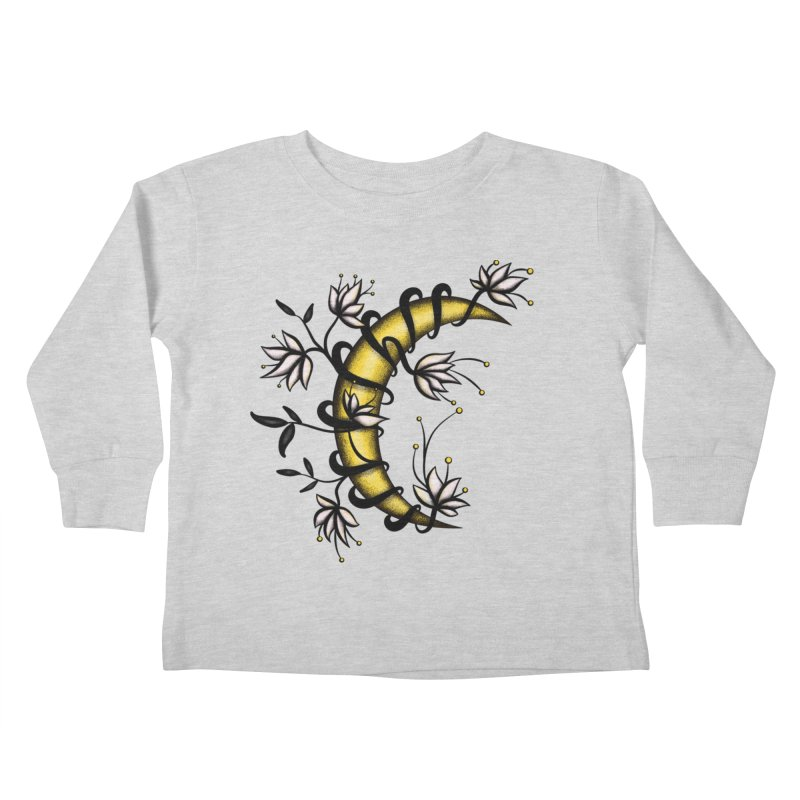 Crescent Moon Wrapped In Flowers Tattoo Style Kids Toddler Longsleeve T-Shirt by Boriana's Artist Shop