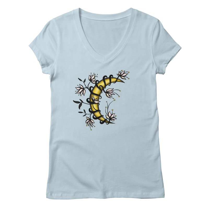 Crescent Moon Wrapped In Flowers Tattoo Style Women's Regular V-Neck by Boriana's Artist Shop