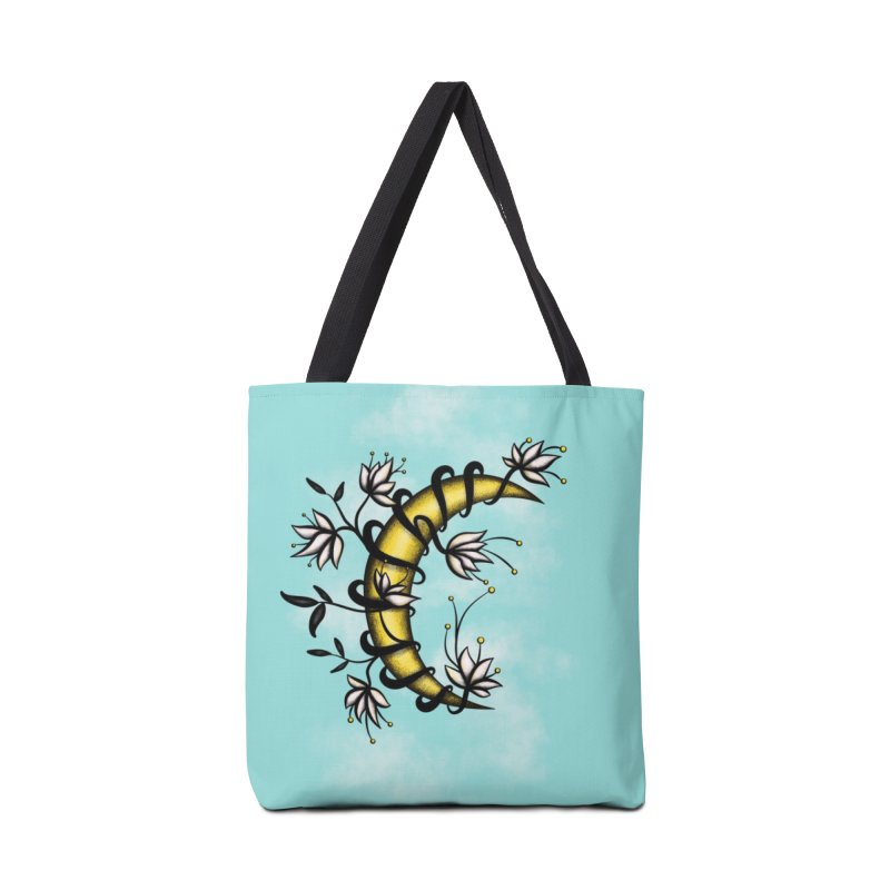 Crescent Moon Wrapped In Flowers Tattoo Style Accessories Tote Bag Bag by Boriana's Artist Shop