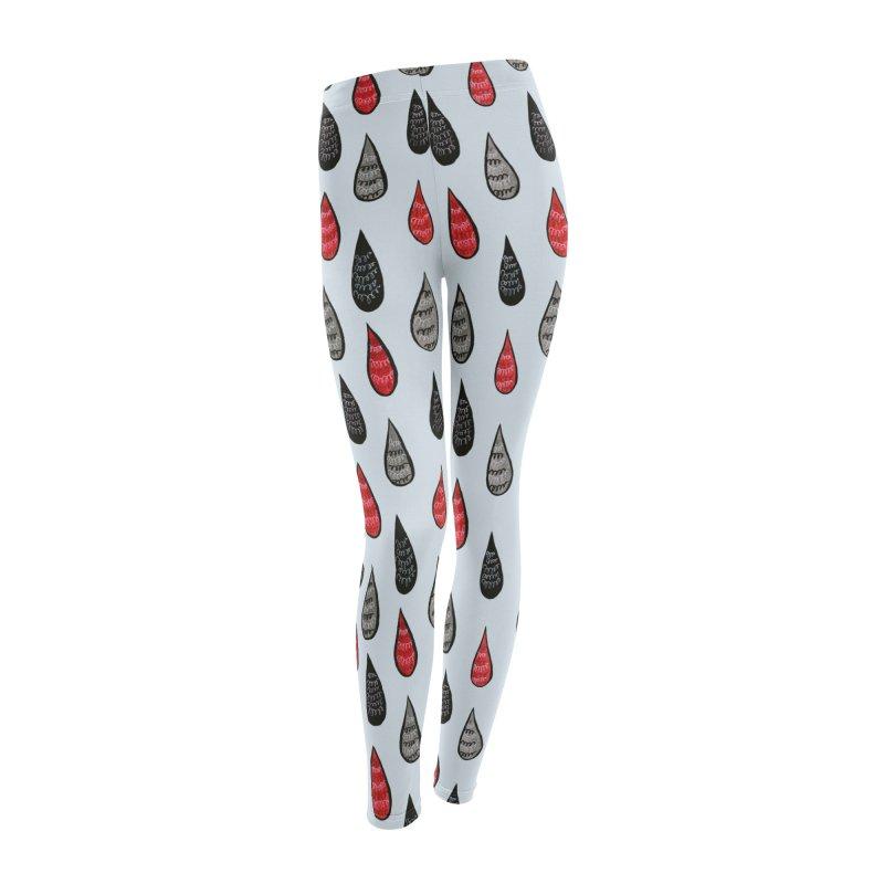 Weird Rain Drops Ink Pattern In Red Black Grey Women's Leggings Bottoms by Boriana's Artist Shop