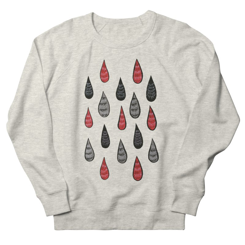 Weird Rain Drops Ink Pattern In Red Black Grey Women's French Terry Sweatshirt by Boriana's Artist Shop