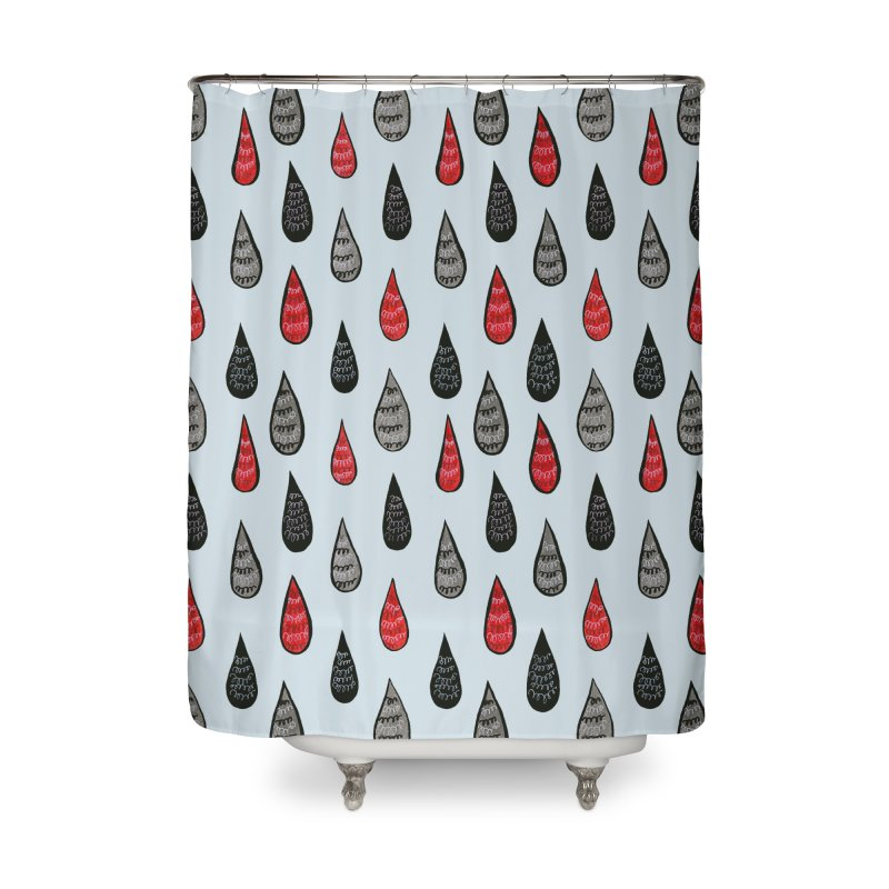 Weird Rain Drops Ink Pattern In Red Black Grey Home Shower Curtain by Boriana's Artist Shop