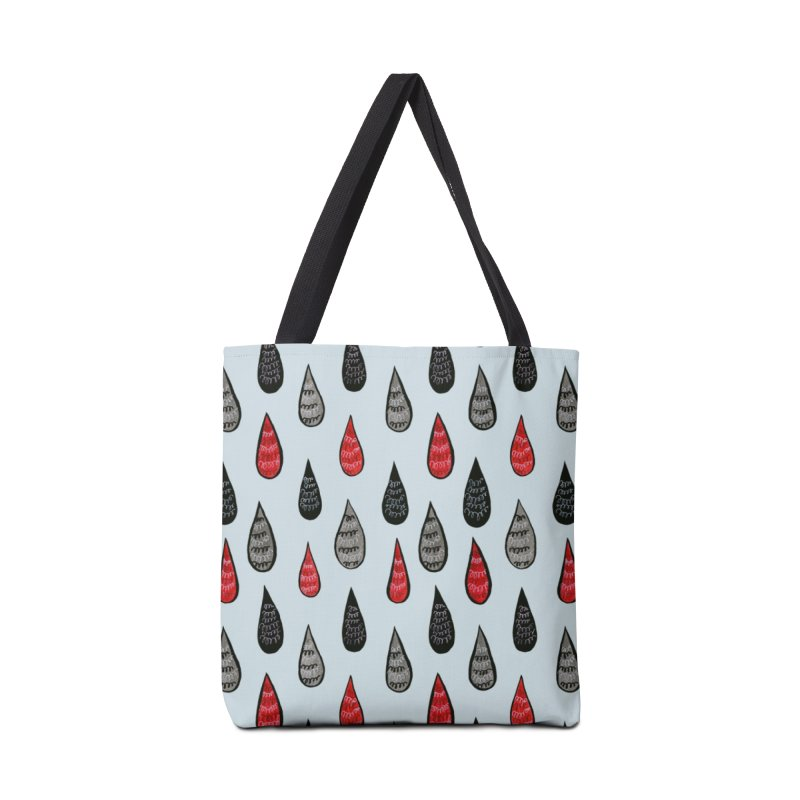 Weird Rain Drops Ink Pattern In Red Black Grey Accessories Tote Bag Bag by Boriana's Artist Shop