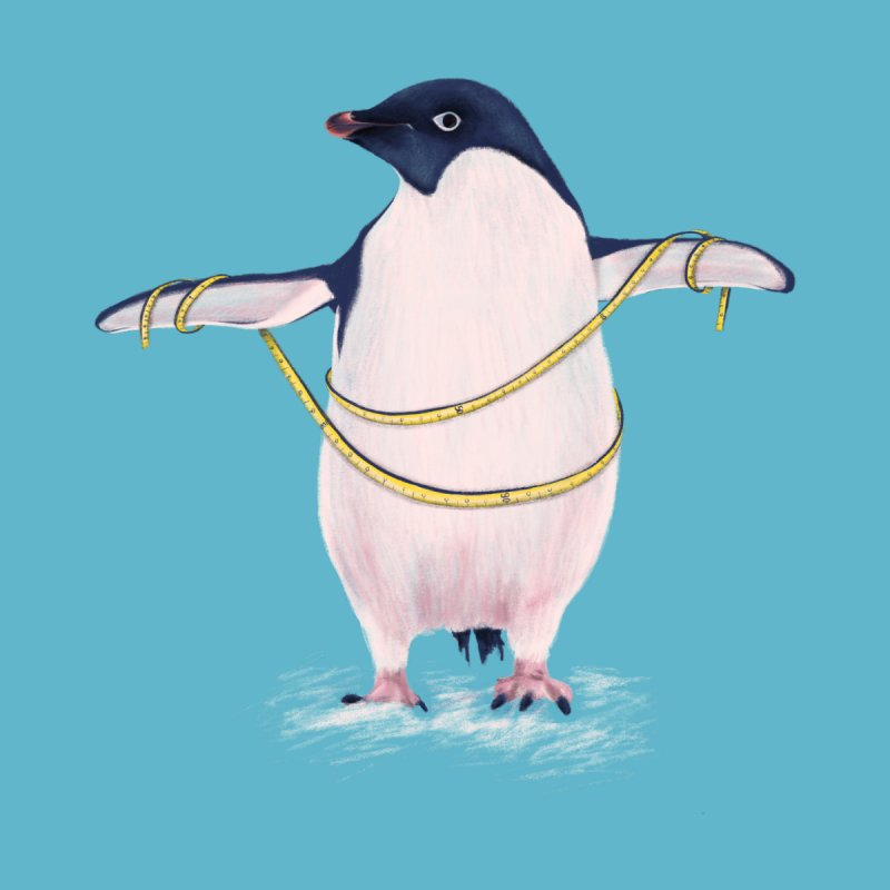 Cute Fat Penguin Goes On Diet by Boriana's Artist Shop