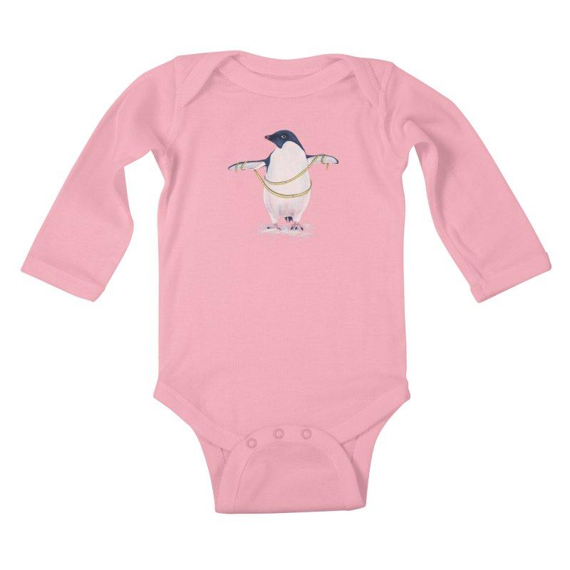 Cute Fat Penguin Goes On Diet Kids Baby Longsleeve Bodysuit by Boriana's Artist Shop
