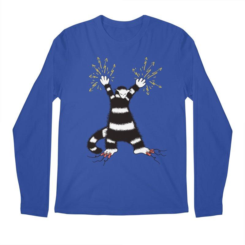 Cool Cute Weird Electro Cat Men's Regular Longsleeve T-Shirt by Boriana's Artist Shop
