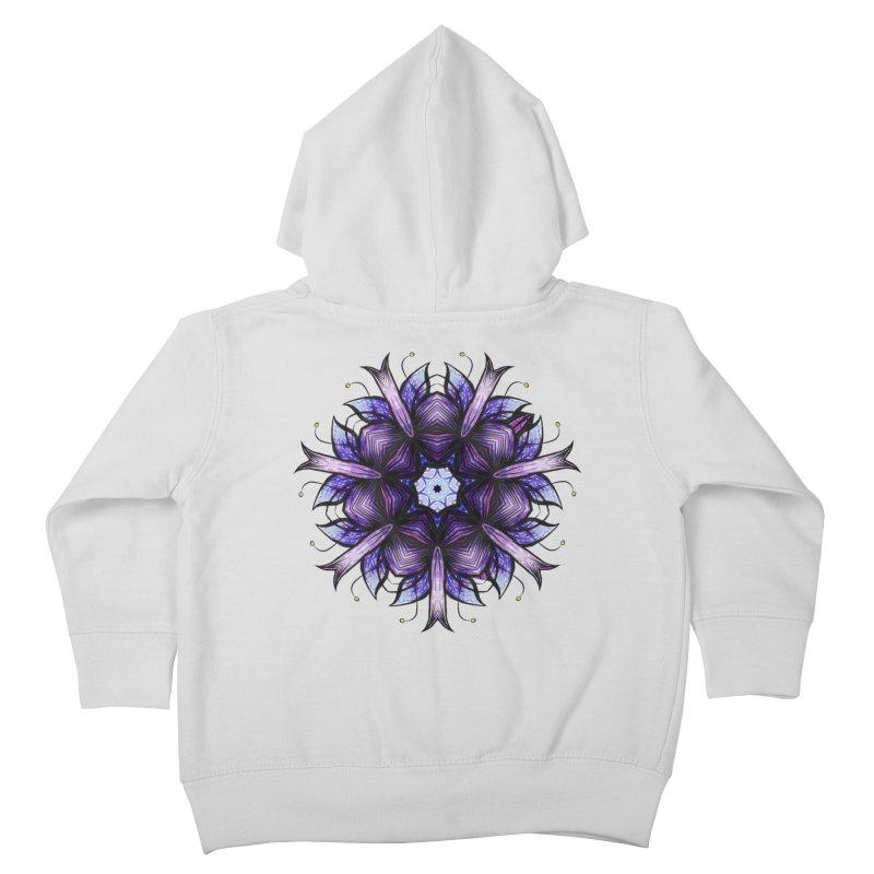 Purple Mandala Flower Ink Drawing Kids Toddler Zip-Up Hoody by Boriana's Artist Shop