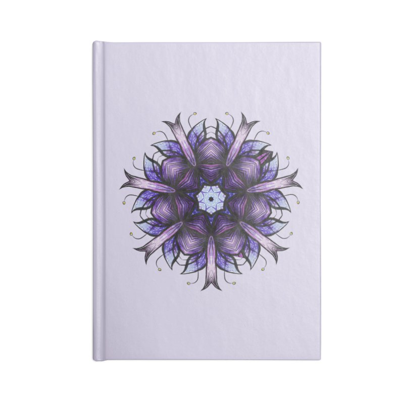 Purple Mandala Flower Ink Drawing Accessories Lined Journal Notebook by Boriana's Artist Shop