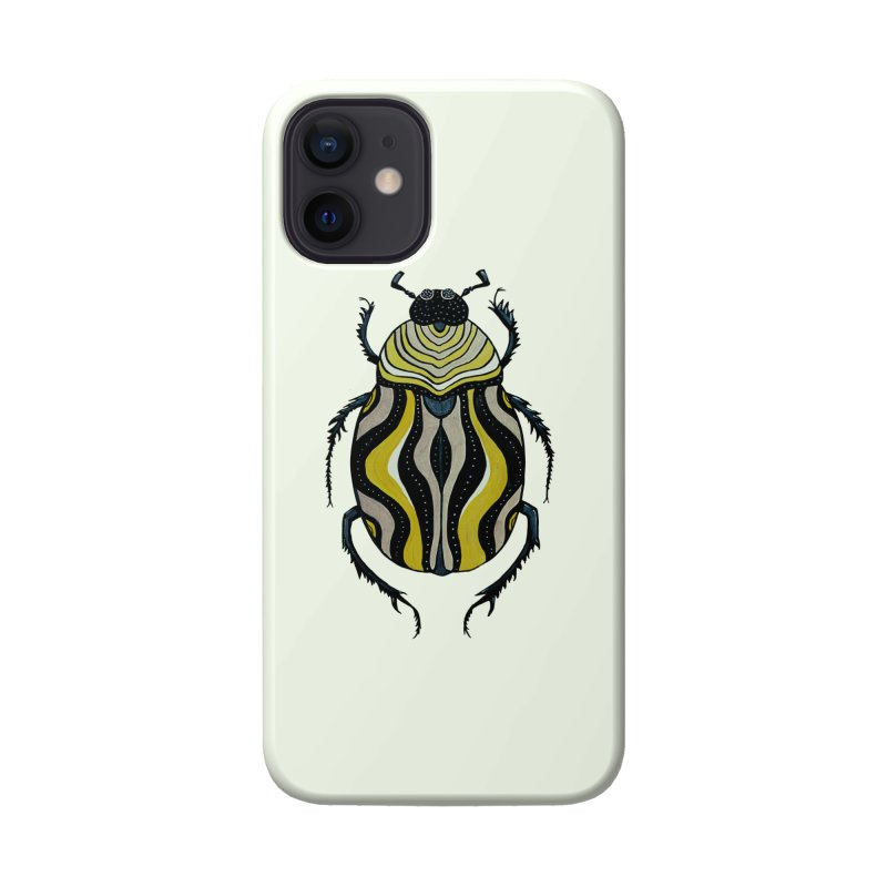 Cool Beetle With Stripes Ink Drawing In Grey Gold Black Accessories Phone Case by Boriana's Artist Shop