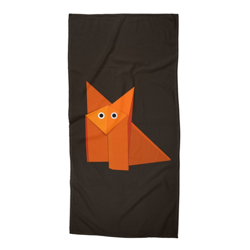 Geometric Cute Origami Fox Accessories Beach Towel by Boriana's Artist Shop