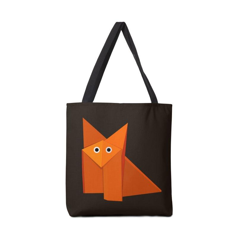 Geometric Cute Origami Fox Accessories Bag by Boriana's Artist Shop