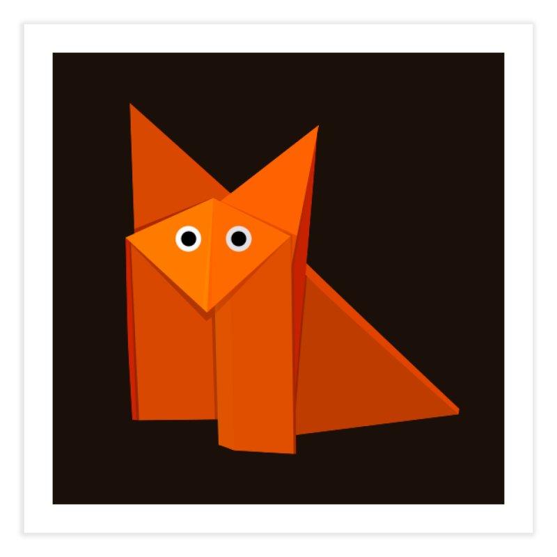 Geometric Cute Origami Fox Home Fine Art Print by Boriana's Artist Shop