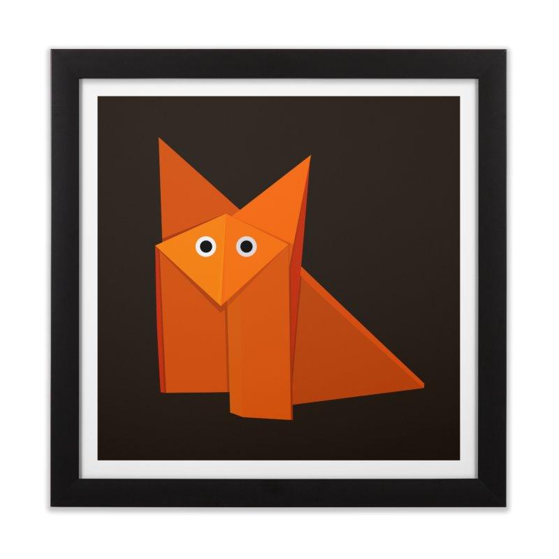 Geometric Cute Origami Fox Home Framed Fine Art Print by Boriana's Artist Shop