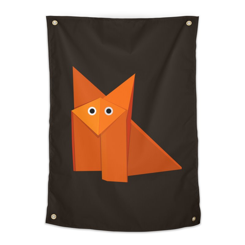 Geometric Cute Origami Fox Home Tapestry by Boriana's Artist Shop