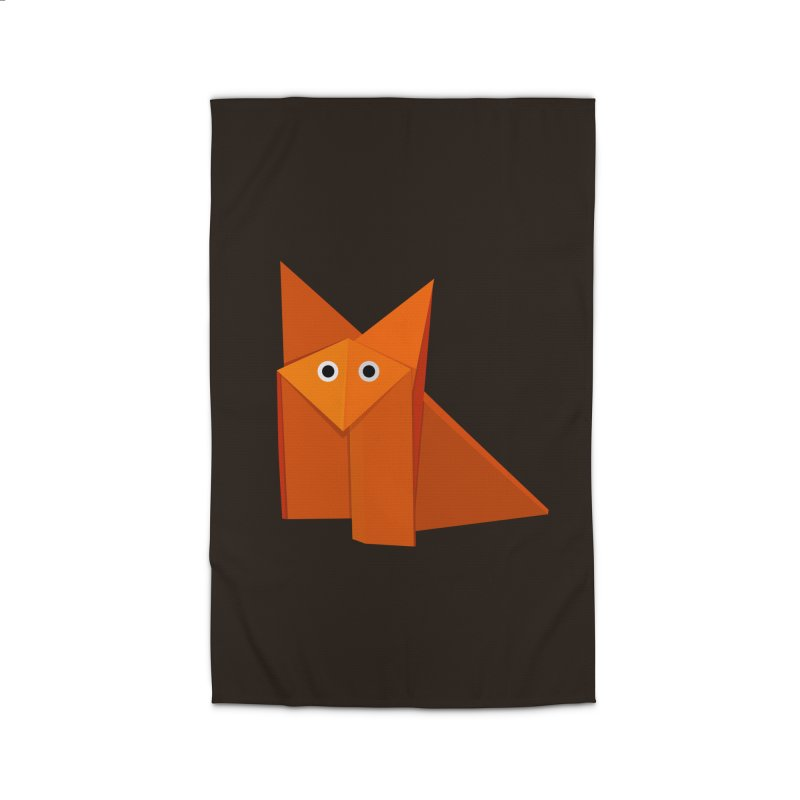 Geometric Cute Origami Fox Home Rug by Boriana's Artist Shop
