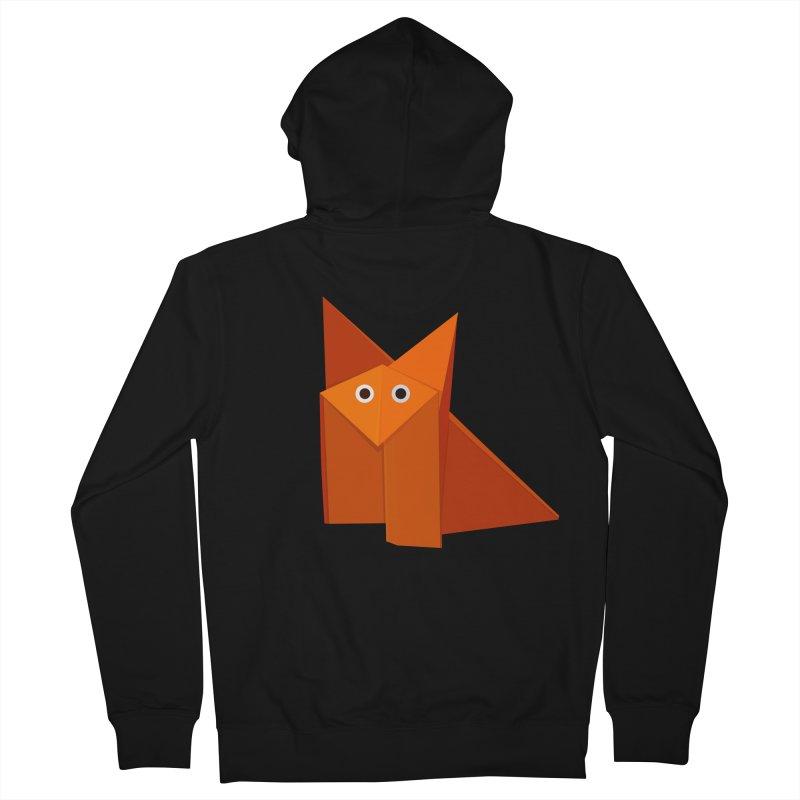 Geometric Cute Origami Fox Men's Zip-Up Hoody by Boriana's Artist Shop