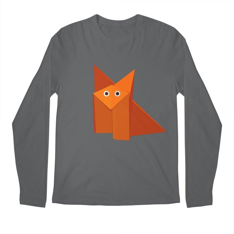 Geometric Cute Origami Fox Men's Longsleeve T-Shirt by Boriana's Artist Shop