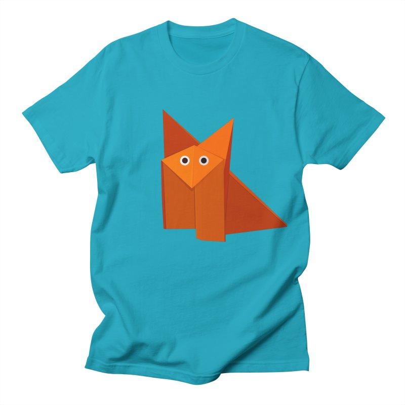 Geometric Cute Origami Fox Men's T-shirt by Boriana's Artist Shop