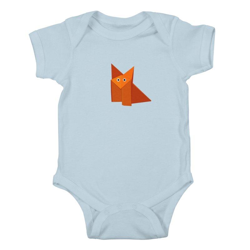 Geometric Cute Origami Fox Kids Baby Bodysuit by Boriana's Artist Shop