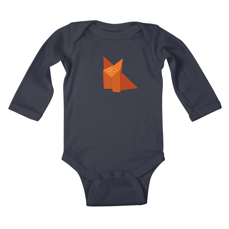 Geometric Cute Origami Fox Kids Baby Longsleeve Bodysuit by Boriana's Artist Shop