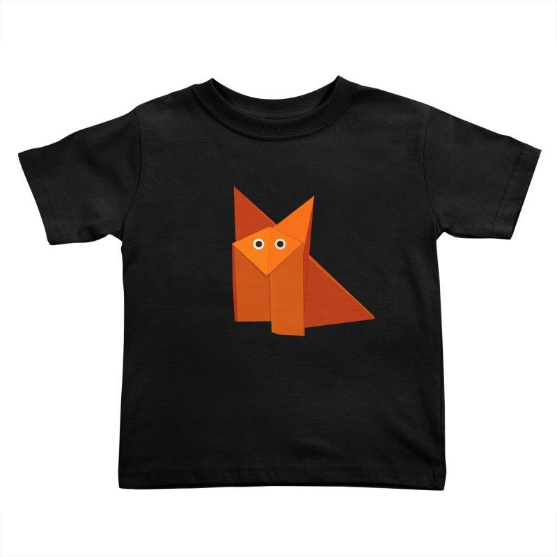 Geometric Cute Origami Fox Kids Toddler T-Shirt by Boriana's Artist Shop