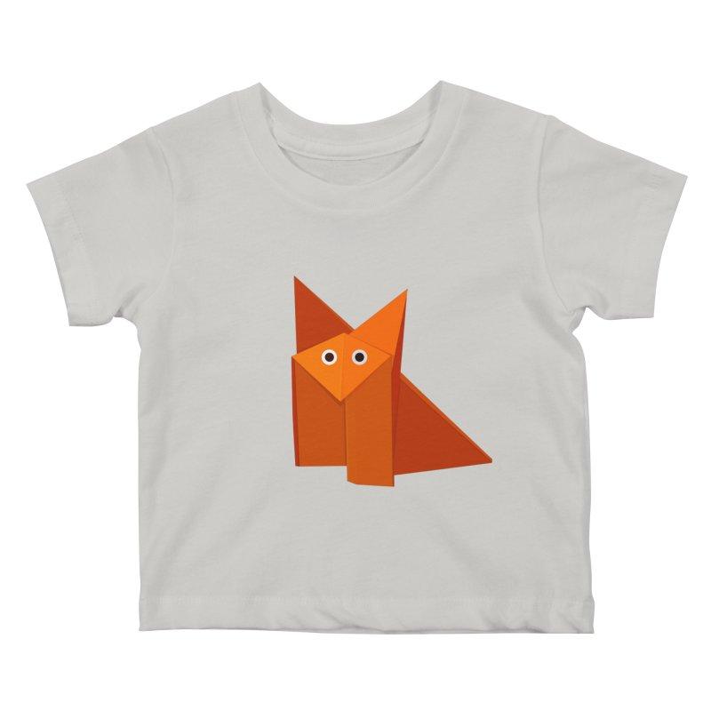 Geometric Cute Origami Fox Kids Baby T-Shirt by Boriana's Artist Shop