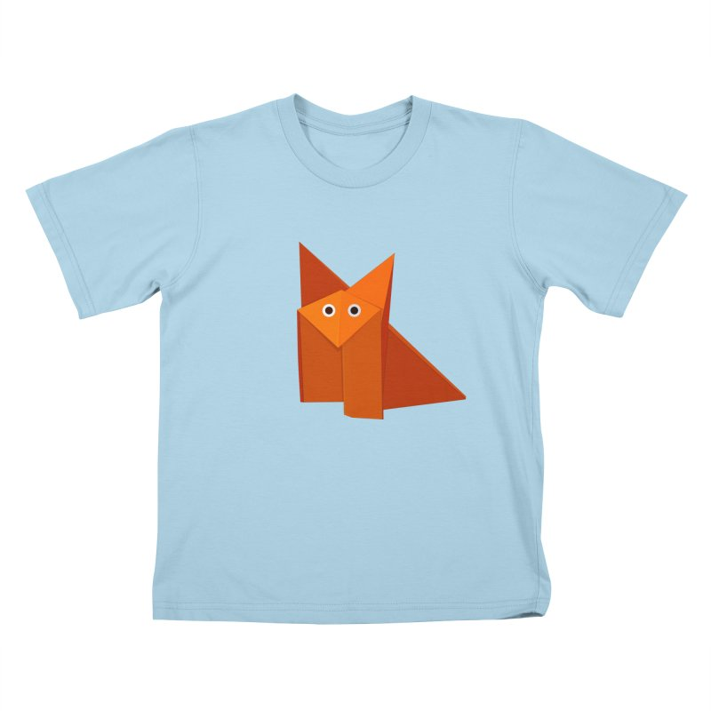 Geometric Cute Origami Fox Kids T-shirt by Boriana's Artist Shop