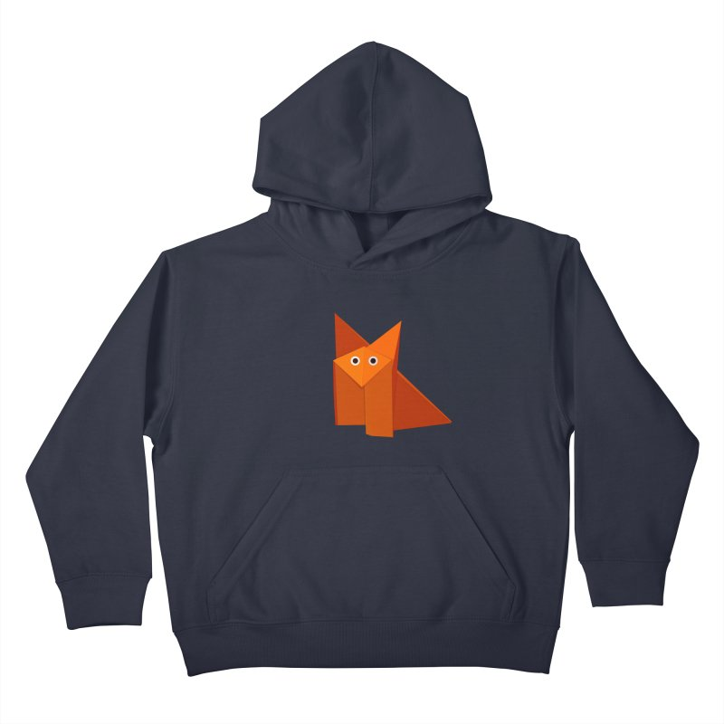 Geometric Cute Origami Fox Kids Pullover Hoody by Boriana's Artist Shop