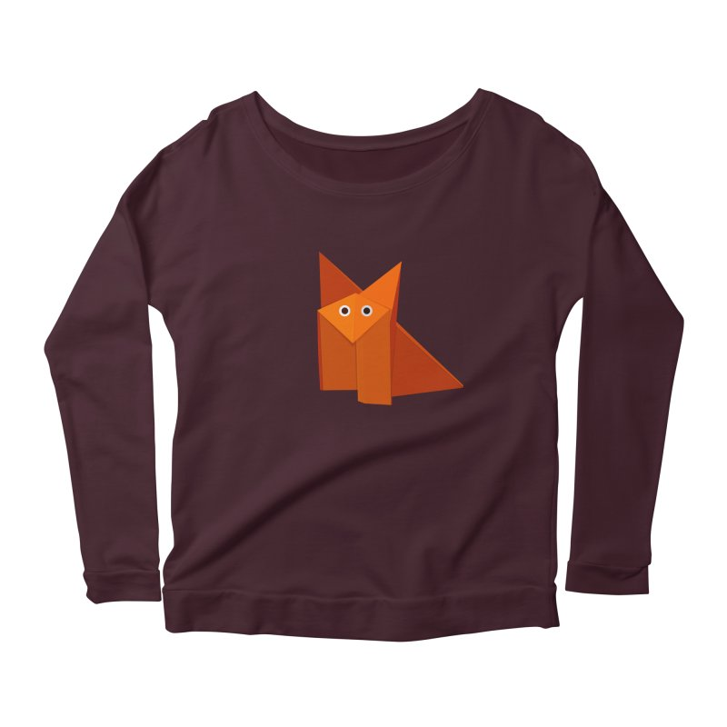 Geometric Cute Origami Fox Women's Longsleeve Scoopneck  by Boriana's Artist Shop
