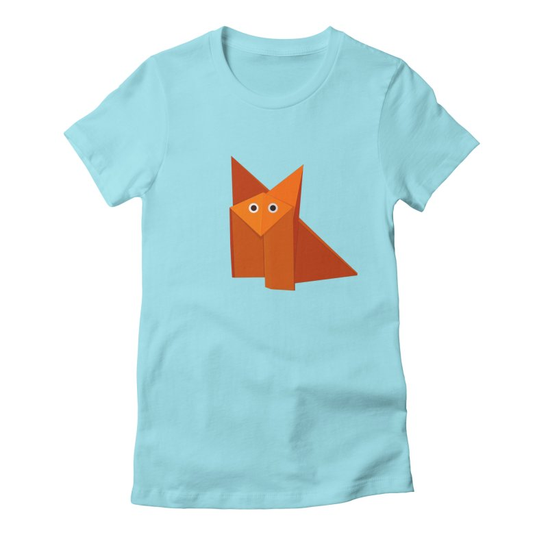 Geometric Cute Origami Fox Women's Fitted T-Shirt by Boriana's Artist Shop