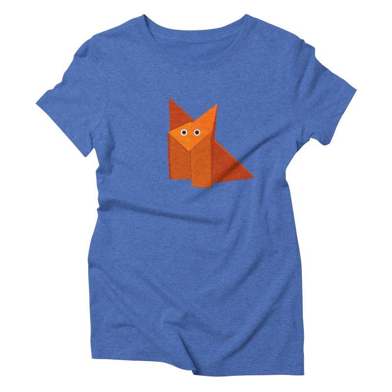 Geometric Cute Origami Fox Women's Triblend T-shirt by Boriana's Artist Shop