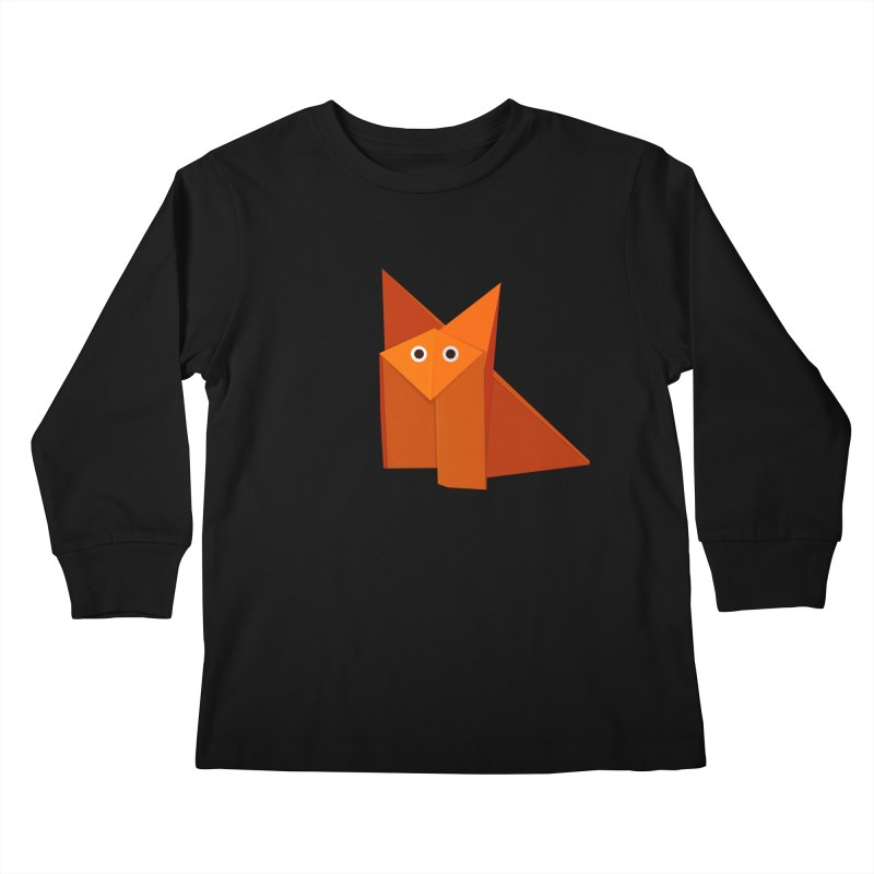 Geometric Cute Origami Fox Kids Longsleeve T-Shirt by Boriana's Artist Shop