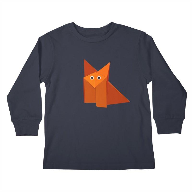 Geometric Cute Origami Fox Kids Longsleeve T-Shirt by Boriana's Artist Shop