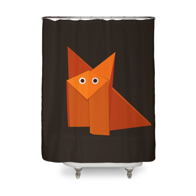 Geometric Cute Origami Fox Home Shower Curtain by Boriana's Artist Shop