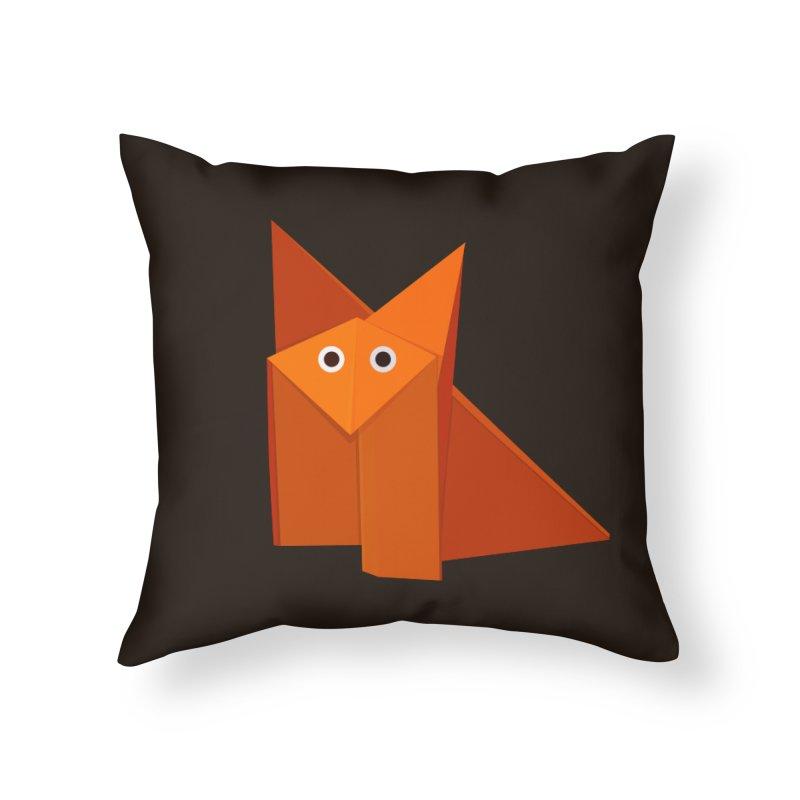 Geometric Cute Origami Fox Home Throw Pillow by Boriana's Artist Shop