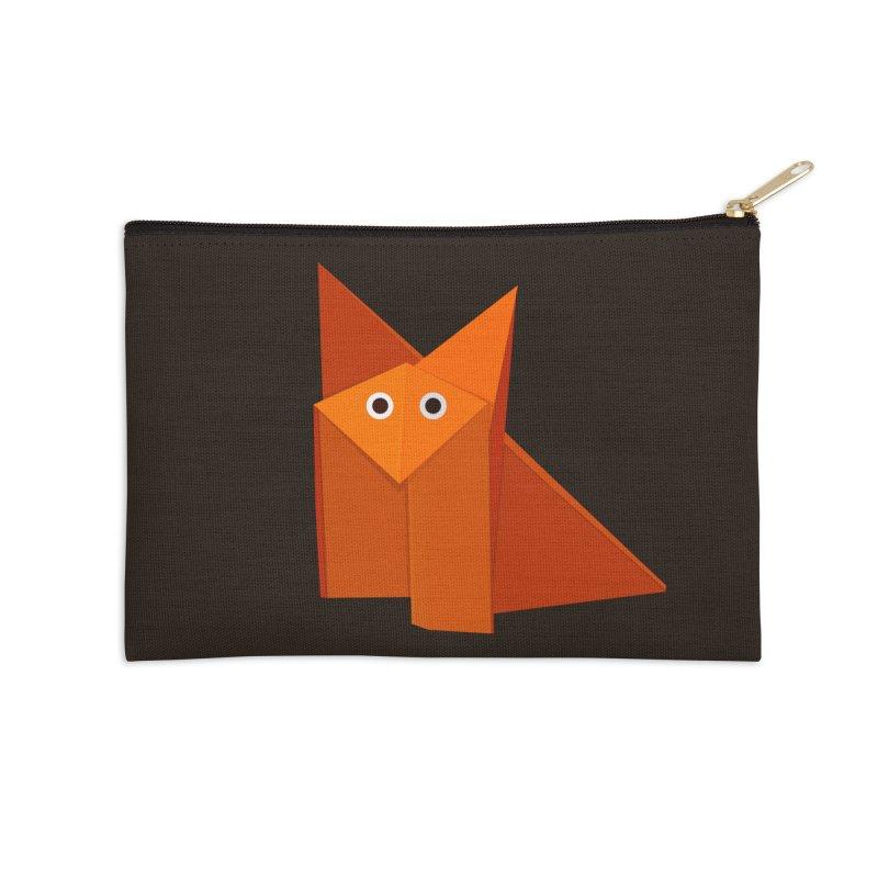 Geometric Cute Origami Fox Accessories Zip Pouch by Boriana's Artist Shop