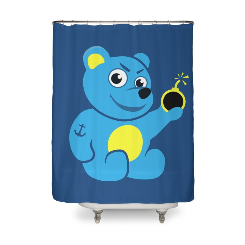 Evil Tattooed Teddy Bear Home Shower Curtain by Boriana's Artist Shop