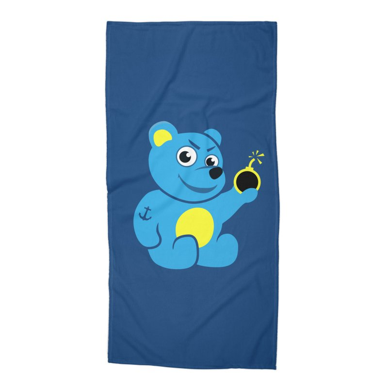 Evil Tattooed Teddy Bear Accessories Beach Towel by Boriana's Artist Shop