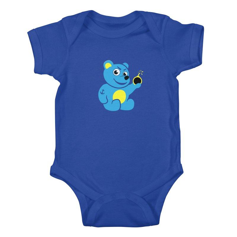 Evil Tattooed Teddy Bear Kids Baby Bodysuit by Boriana's Artist Shop