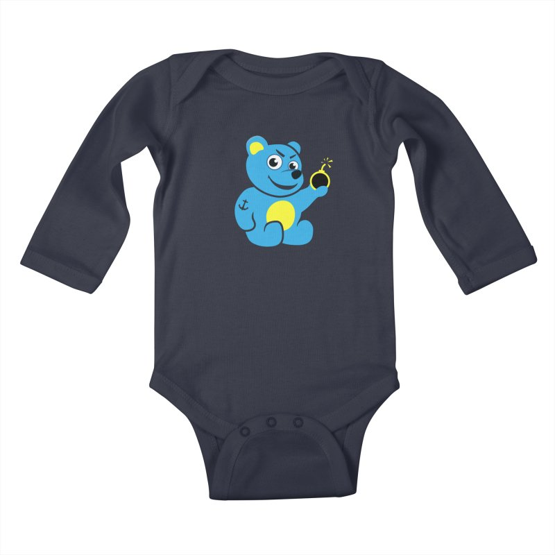Evil Tattooed Teddy Bear Kids Baby Longsleeve Bodysuit by Boriana's Artist Shop