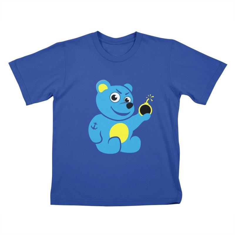 Evil Tattooed Teddy Bear Kids T-shirt by Boriana's Artist Shop