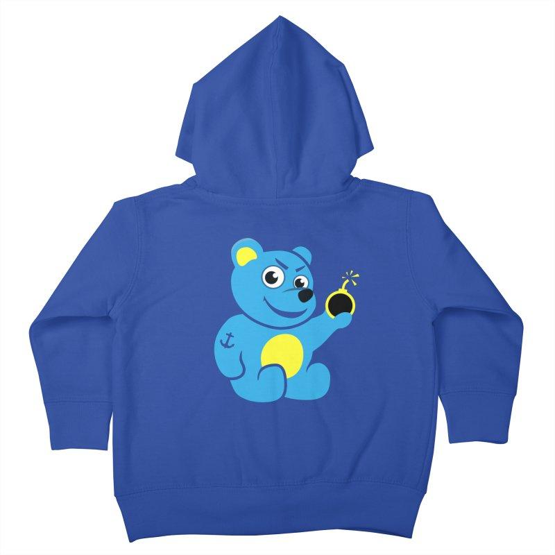 Evil Tattooed Teddy Bear Kids Toddler Zip-Up Hoody by Boriana's Artist Shop