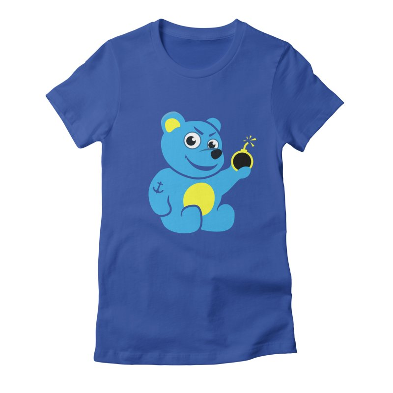 Evil Tattooed Teddy Bear Women's Fitted T-Shirt by Boriana's Artist Shop