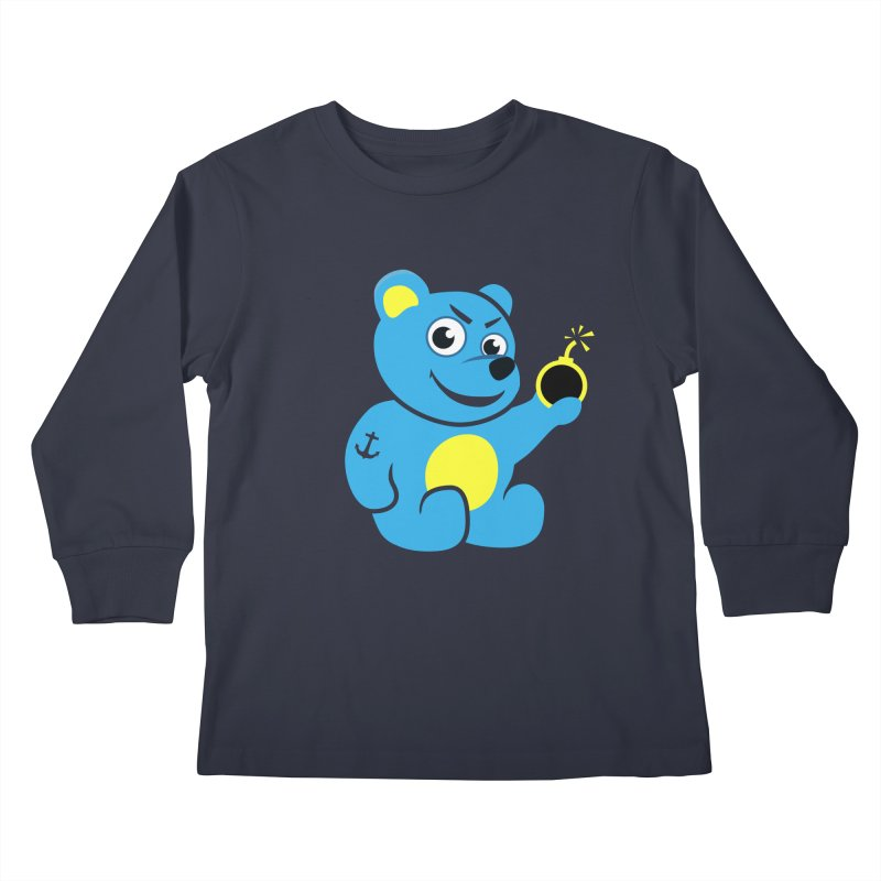 Evil Tattooed Teddy Bear Kids Longsleeve T-Shirt by Boriana's Artist Shop